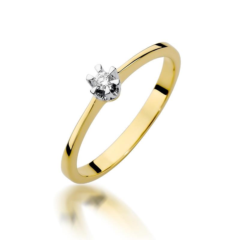 Pierścionek Zaręczynowy Złoty Z Brylantem 010ct Bdw111