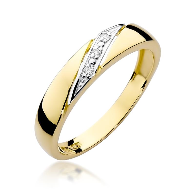 Złoty Pierścionek Zaręczynowy Z Brylantami 002ct Bdw118
