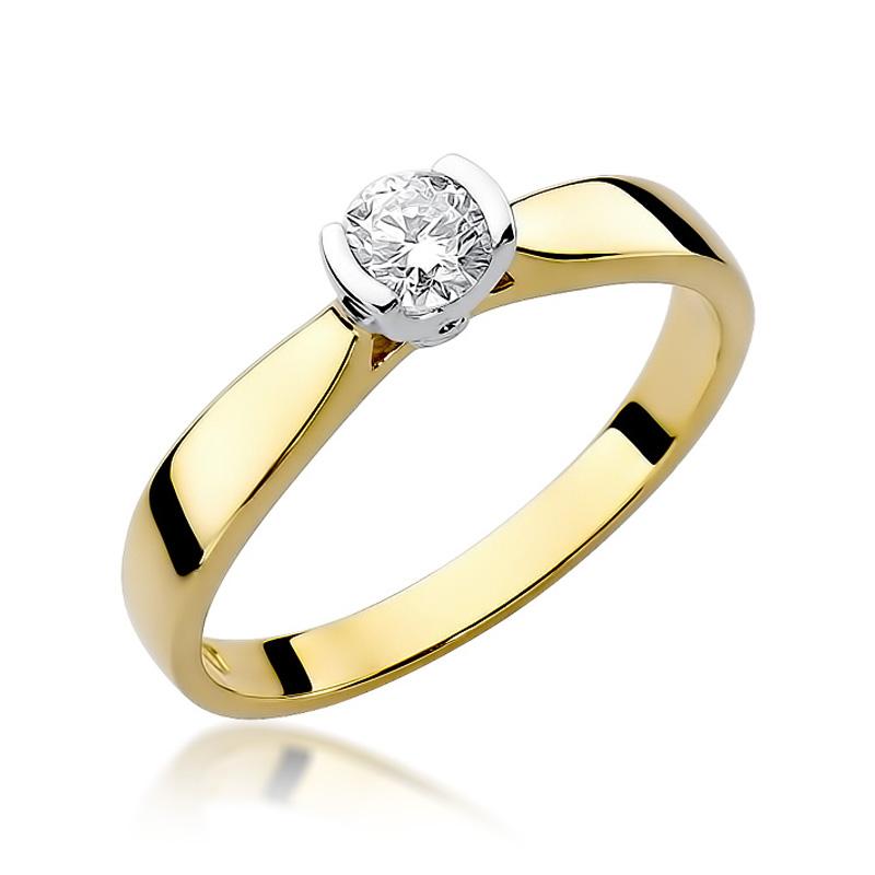 Złoty Pierścionek Zaręczynowy Z Brylantem 025ct Bdw223b25