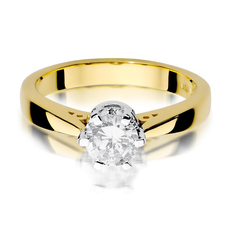 Złoty Pierścionek Zaręczynowy Z Brylantem 025ct Bdw234b25