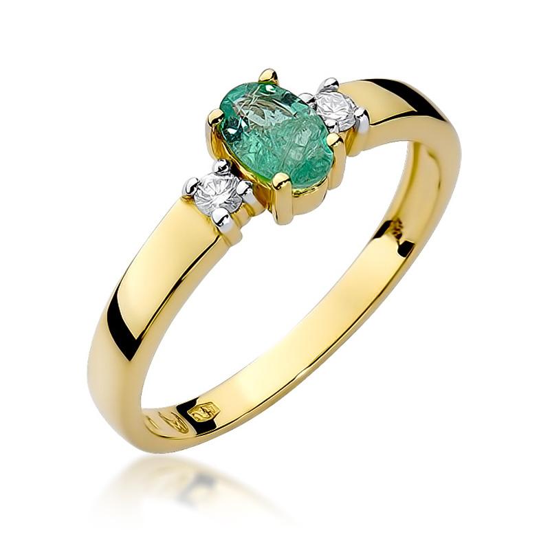 979eee262e3216 Pierścionek zaręczynowy złoty ze szmaragdem ND264/SZ