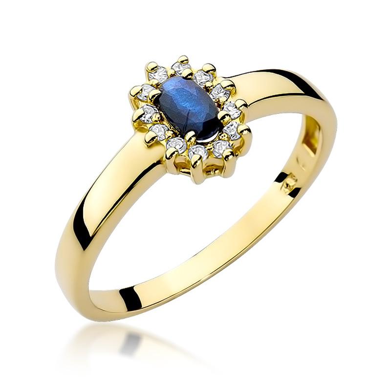 405a8d2d4171d5 Złoty pierścionek z szafirem i brylantami BDW26