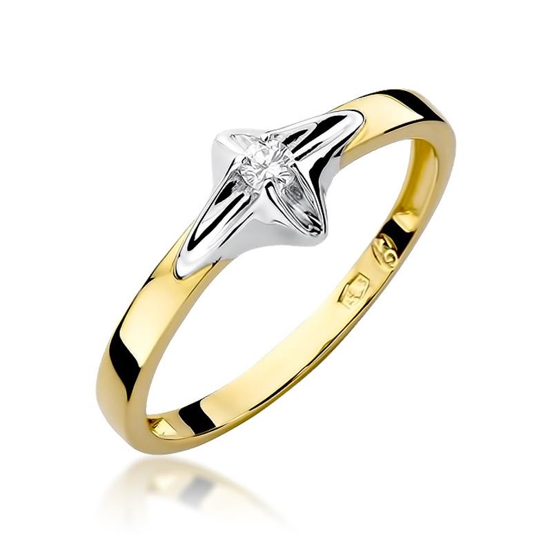 Pierścionek Zaręczynowy Złoty Z Brylantem 005ct Bdw30