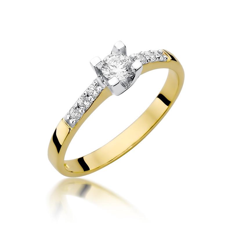 Złoty Pierścionek Zaręczynowy Z Brylantami 037ct Bdw339