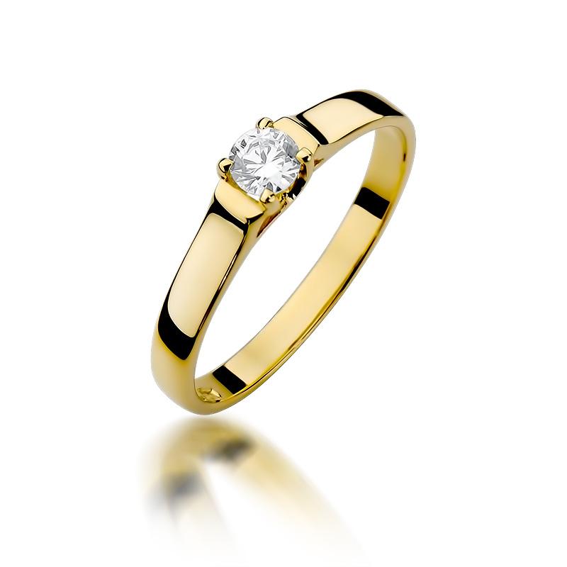 Złoty Pierścionek Zaręczynowy Z Brylantem 018ct Bdw381
