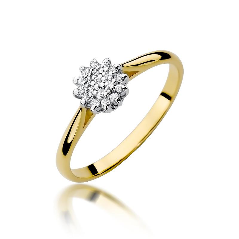 Złoty Pierścionek Zaręczynowy Z Brylantami 010ct Bdw401